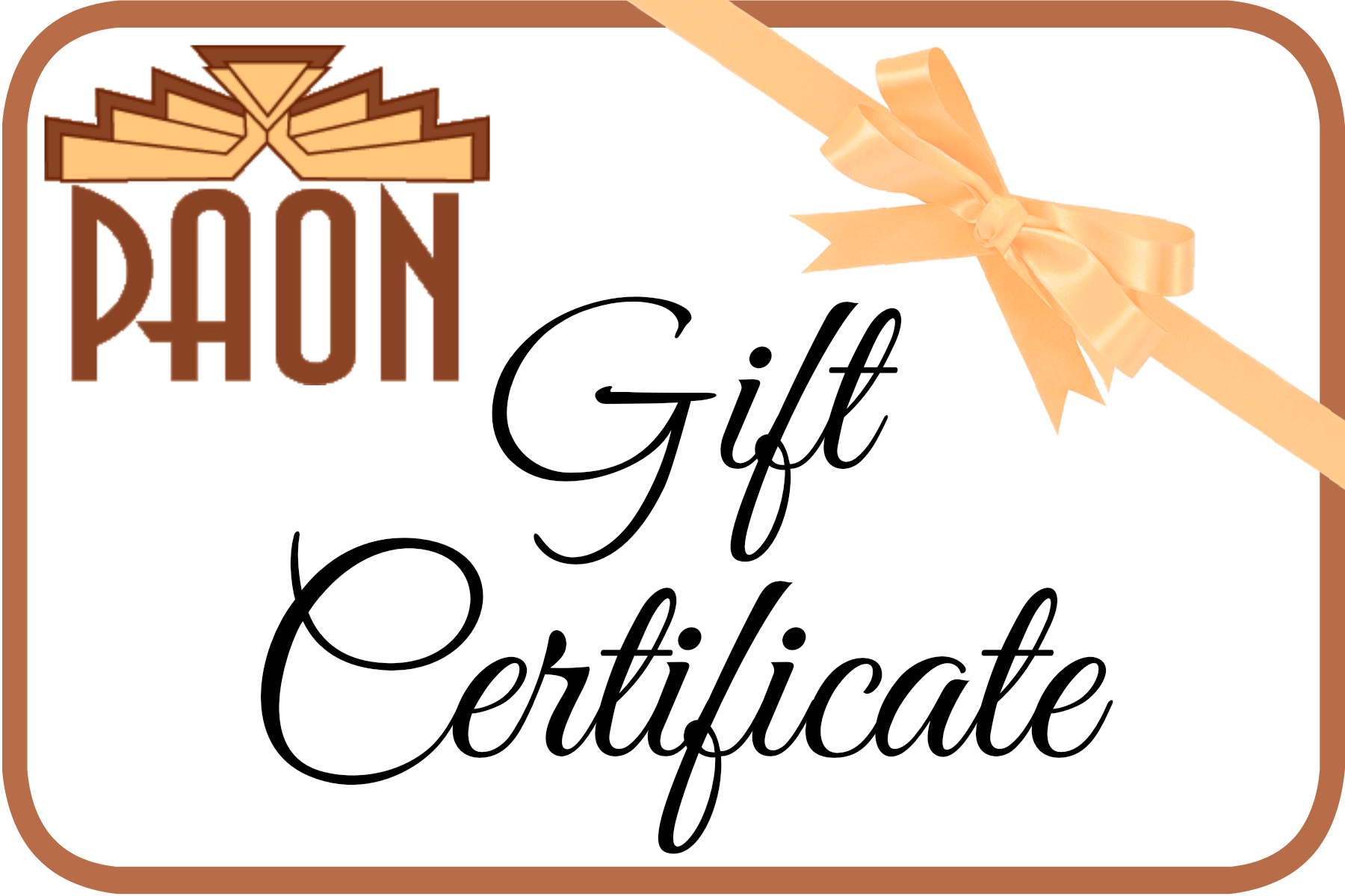 PAON Gift Card WE WILL MAIL to A Friend For You